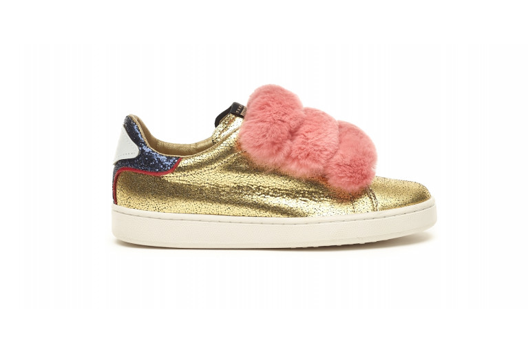 J. CONNORS - GOLD LEATHER & PINK REX FUR View 1