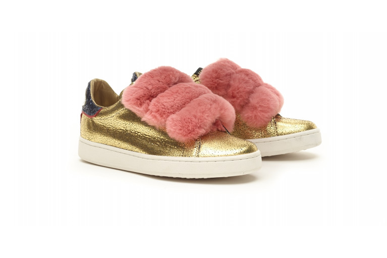 J. CONNORS - GOLD LEATHER & PINK REX FUR View 2
