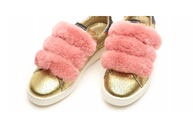 J. CONNORS - GOLD LEATHER & PINK REX FUR View 5