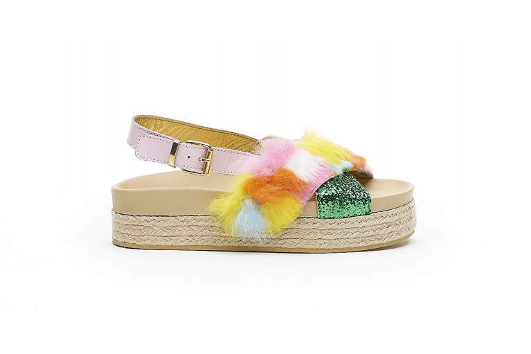 CHARLOTTE - MULTICOLOR FUR & GREEN GLITTER View 1