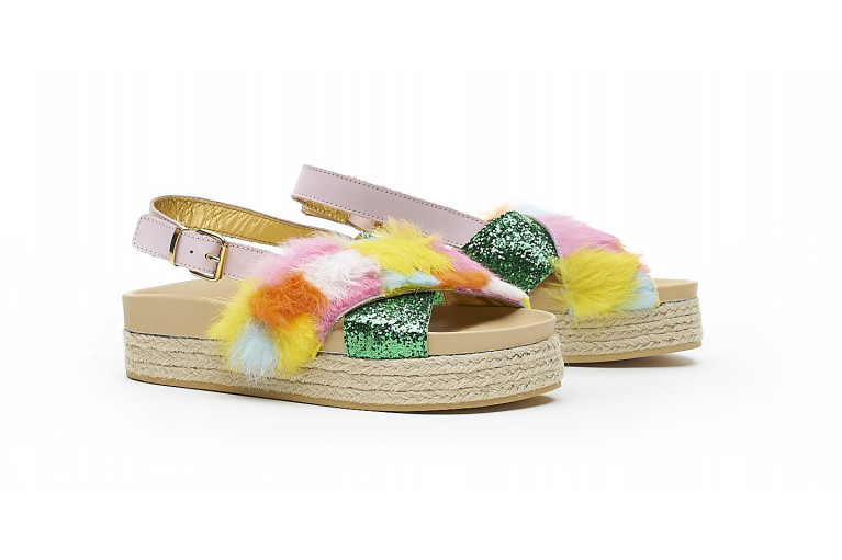 CHARLOTTE - MULTICOLOR FUR & GREEN GLITTER View 2