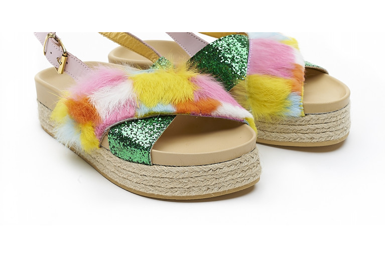 CHARLOTTE - MULTICOLOR FUR & GREEN GLITTER View 5