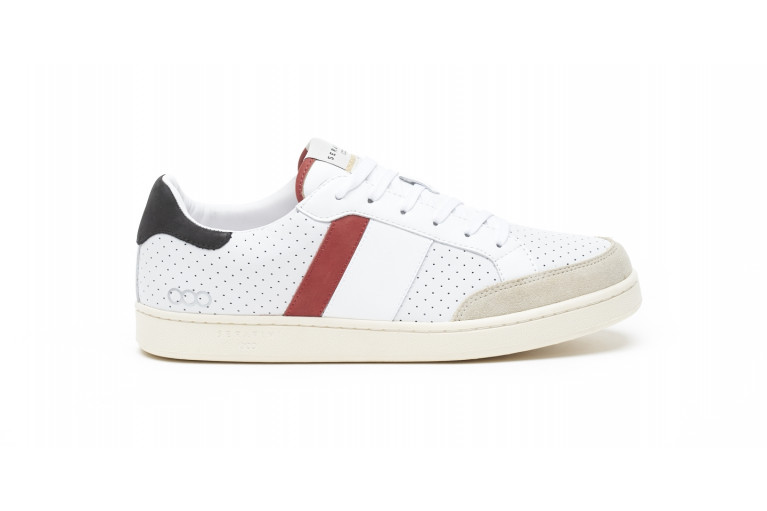 WIMBLEDON - PERFORATED WHITE & RED View 1