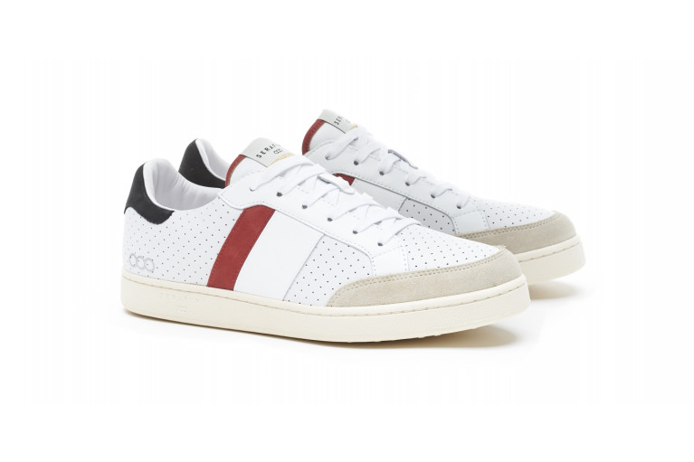 WIMBLEDON - PERFORATED WHITE & RED View 2