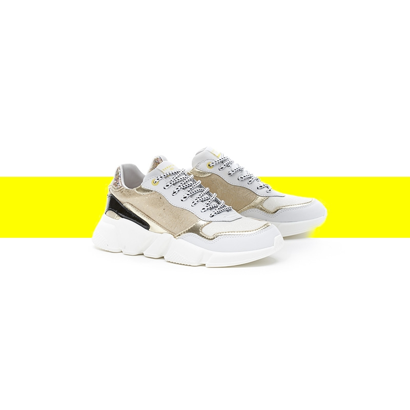 Serafini women's sneakers Oregon gold & white