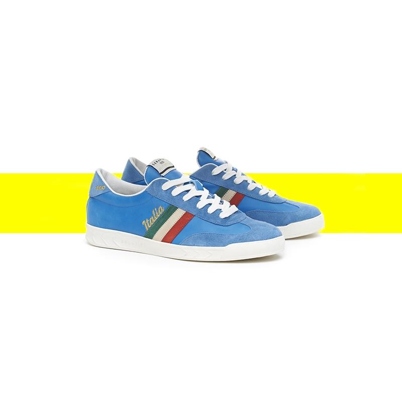 Serafini man's sneakers Flat Gold bluette