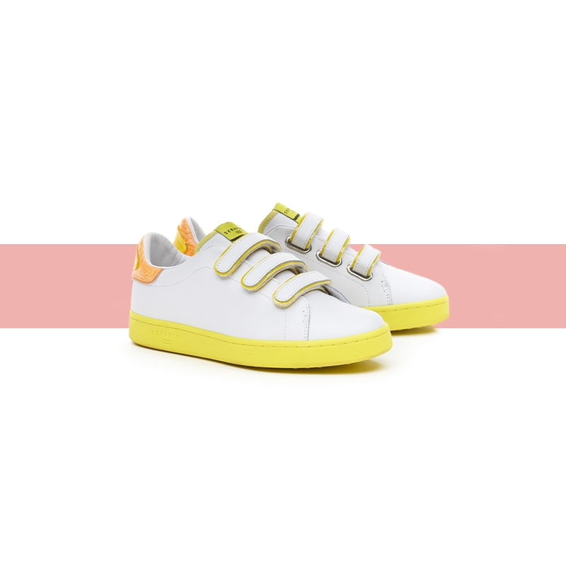 Serafini woman's sneakers J.Connors white & yellow fluo