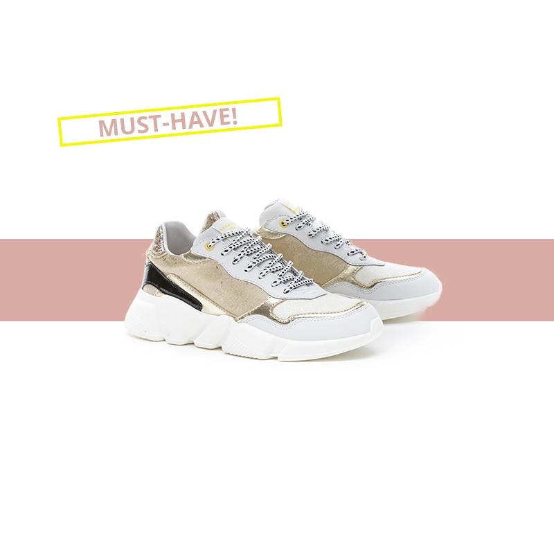 Serafini woman's sneakers Oregon Gold & White